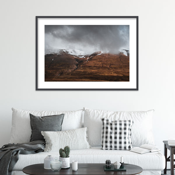 Clouds Retreating into the Mountains of Iceland | Wall Art Print by Jan Erik Waider