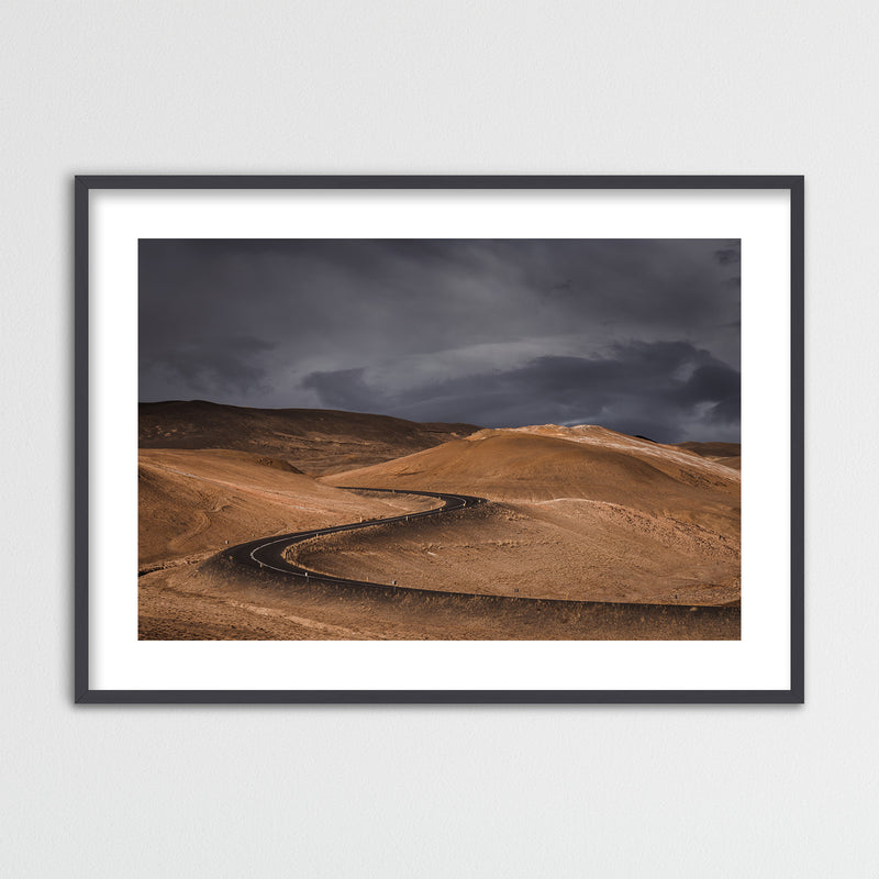 Dark Clouds over Road in Iceland | Framed Photo Print by Jan Erik Waider
