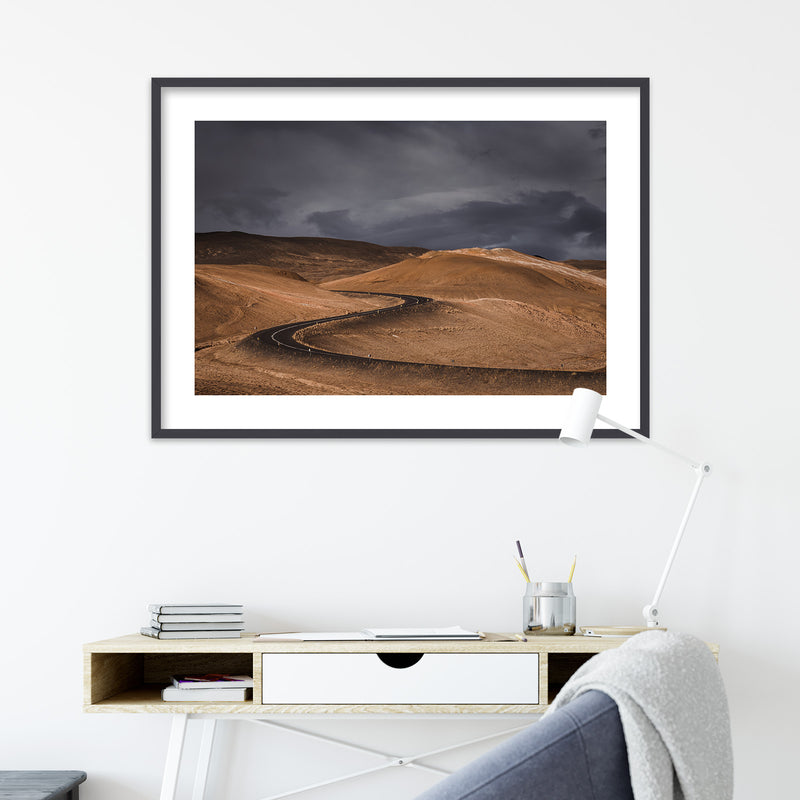 Dark Clouds over Road in Iceland | Wall Art Print by Jan Erik Waider