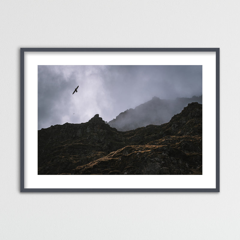 Seagulls over Cliffs in Iceland | Framed Photo Print by Jan Erik Waider