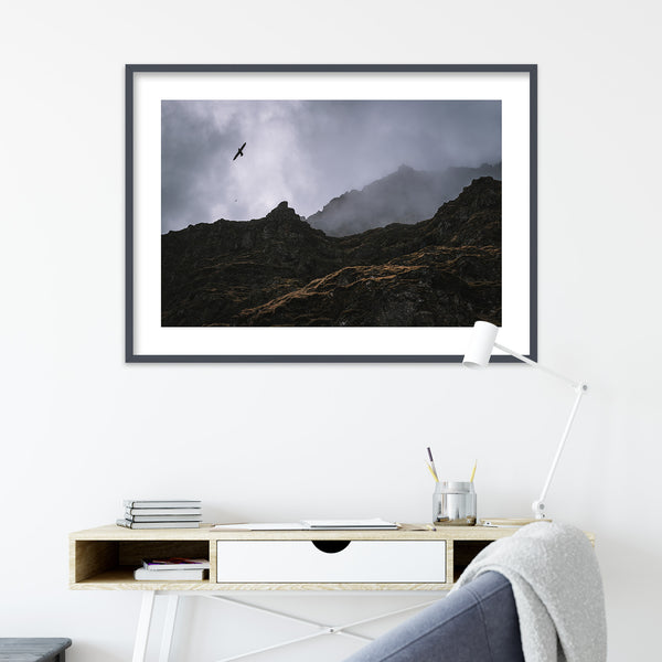 Seagulls over Cliffs in Iceland | Wall Art Print by Jan Erik Waider