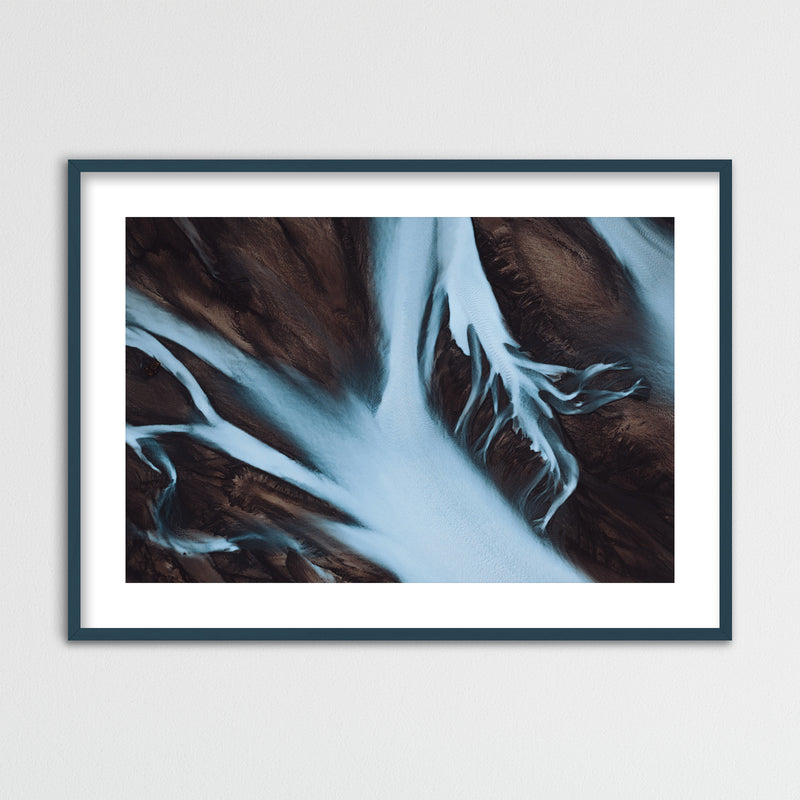 Abstract Aerial View of Glacial Rivers in Iceland | Framed Photo Print by Jan Erik Waider