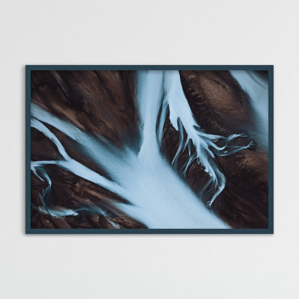 Abstract Aerial View of Glacial Rivers in Iceland | Photography Print by Northlandscapes