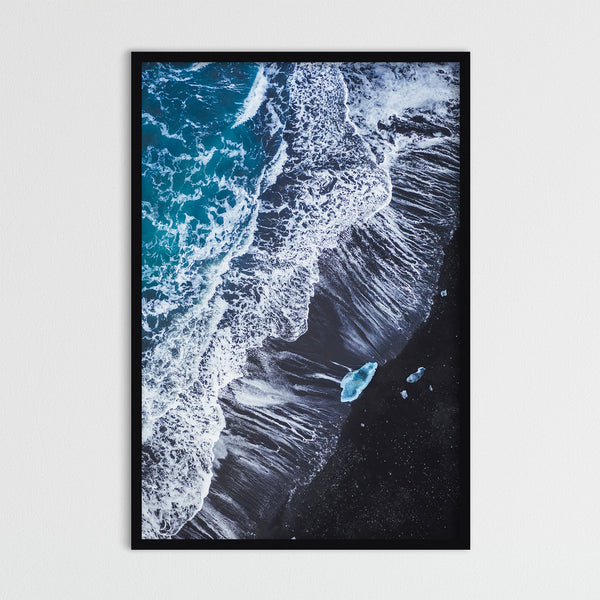 Stranded Iceberg on Black Sand Beach of Iceland | Photography Print by Northlandscapes