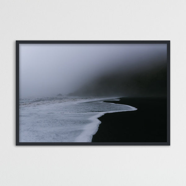Dark and Foggy Beach of Vik in Iceland | Photography Print by Northlandscapes