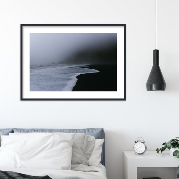 Dark and Foggy Beach of Vik in Iceland | Wall Art Print by Jan Erik Waider