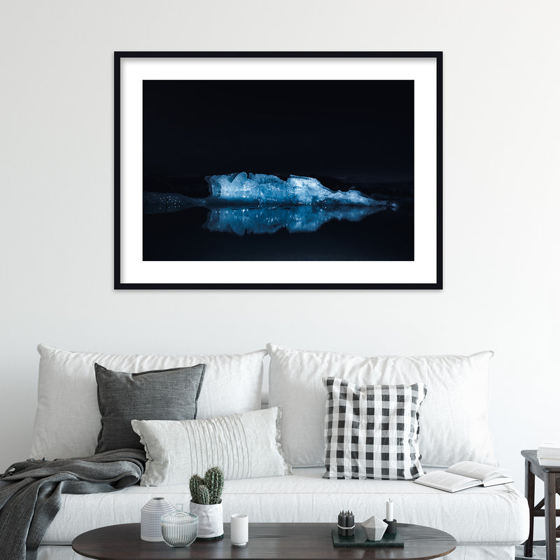 Illuminated Glacier Ice of Jökulsárlón | Wall Art Print by Jan Erik Waider