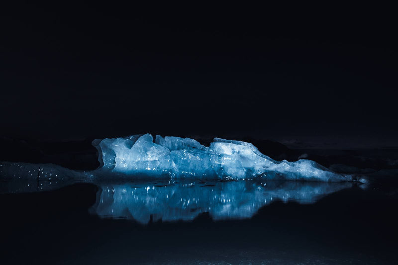 Illuminated Glacier Ice of Jökulsárlón