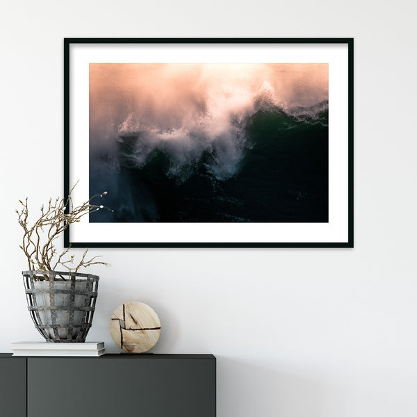 Abstract Orange Ocean Waves | Wall Art Print by Jan Erik Waider