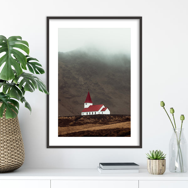 Church of Vík í Mýrdal, Iceland | Wall Art Print by Jan Erik Waider