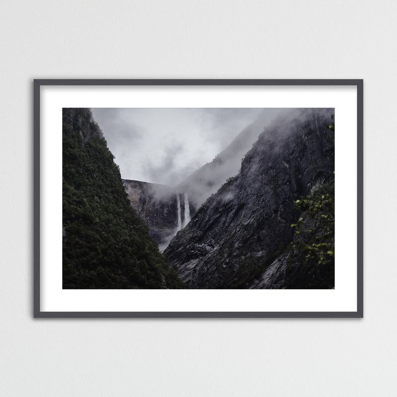 Dramatic Weather over Waterfall | Framed Photo Print by Jan Erik Waider