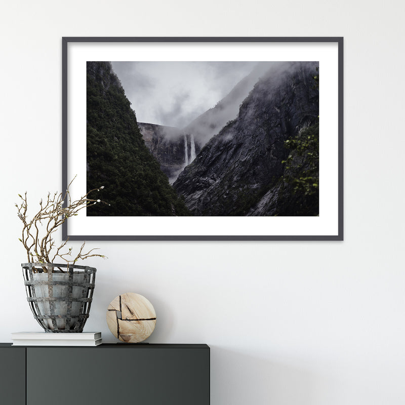 Dramatic Weather over Waterfall | Wall Art Print by Jan Erik Waider