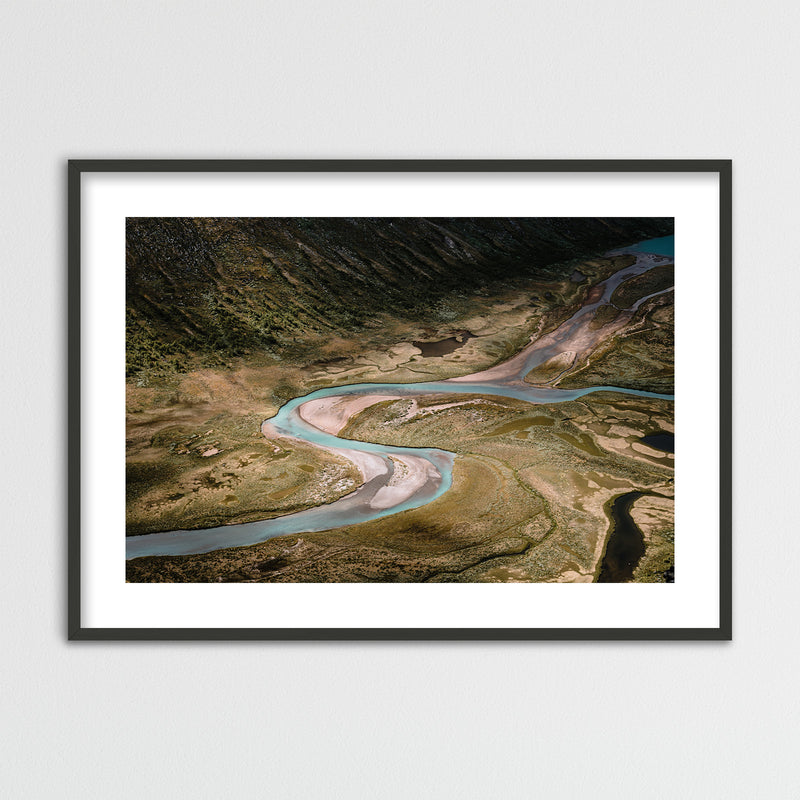 Aerial View of River in Jotunheimen National Park | Framed Photo Print by Jan Erik Waider