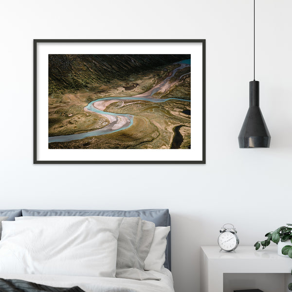 Aerial View of River in Jotunheimen National Park | Wall Art Print by Jan Erik Waider