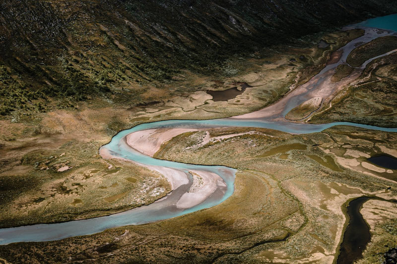 Aerial View of River in Jotunheimen National Park