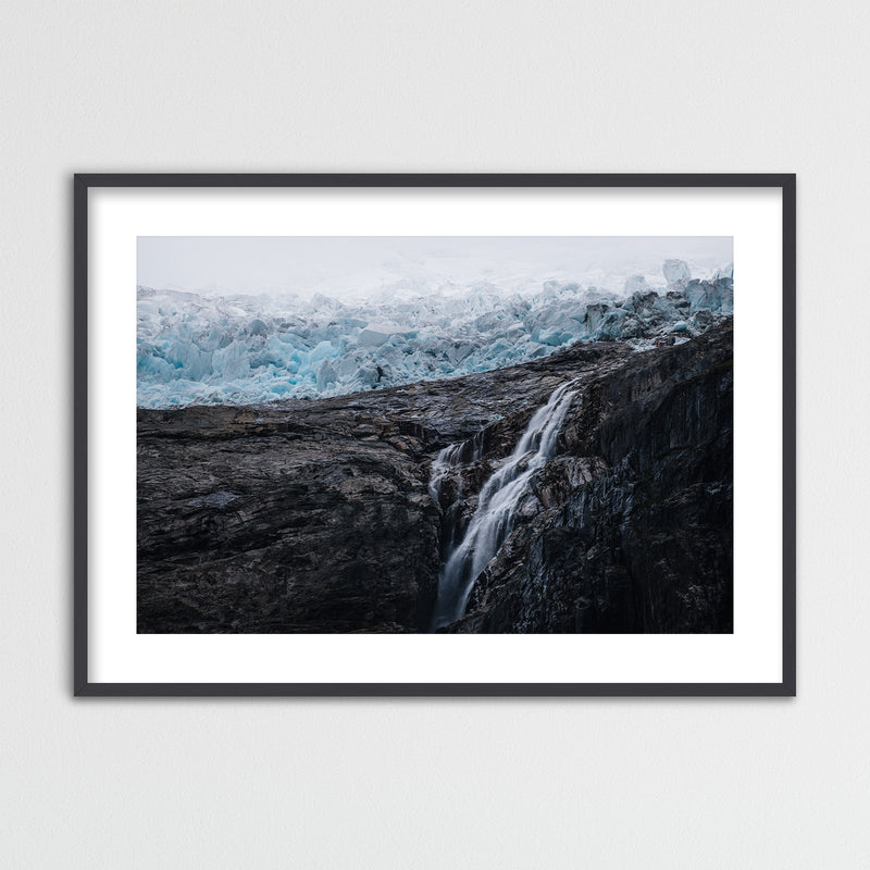 Waterfall and Glacier in Norway | Framed Photo Print by Jan Erik Waider