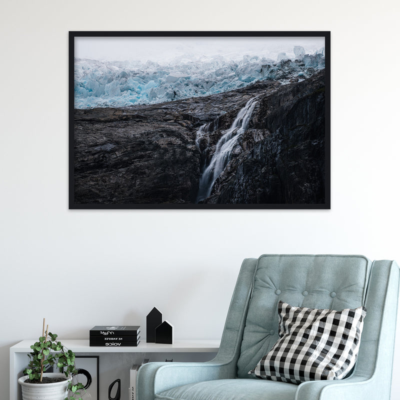 Waterfall and Glacier in Norway | Fine Art Photography Print by Northlandscapes