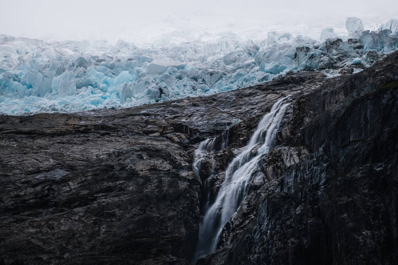 Waterfall and Glacier in Norway