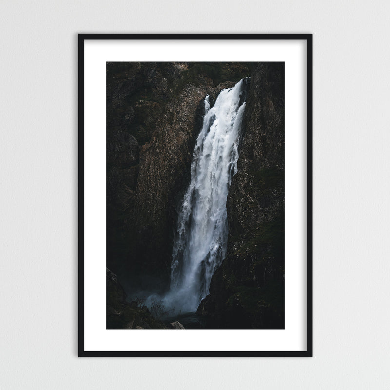 Dark and Moody Waterfall in Norway | Framed Photo Print by Jan Erik Waider