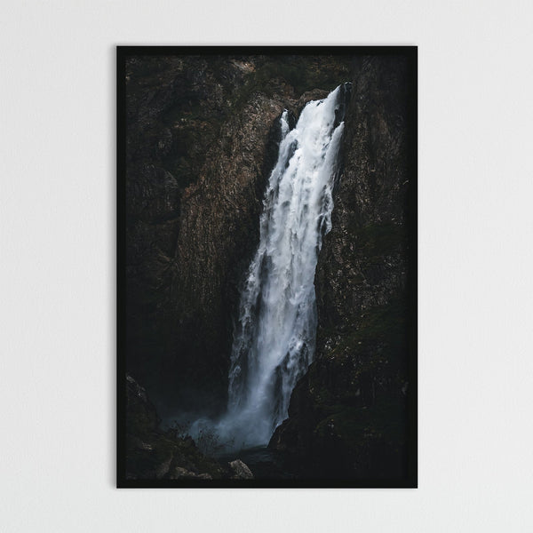 Dark and Moody Waterfall in Norway | Photography Print by Northlandscapes