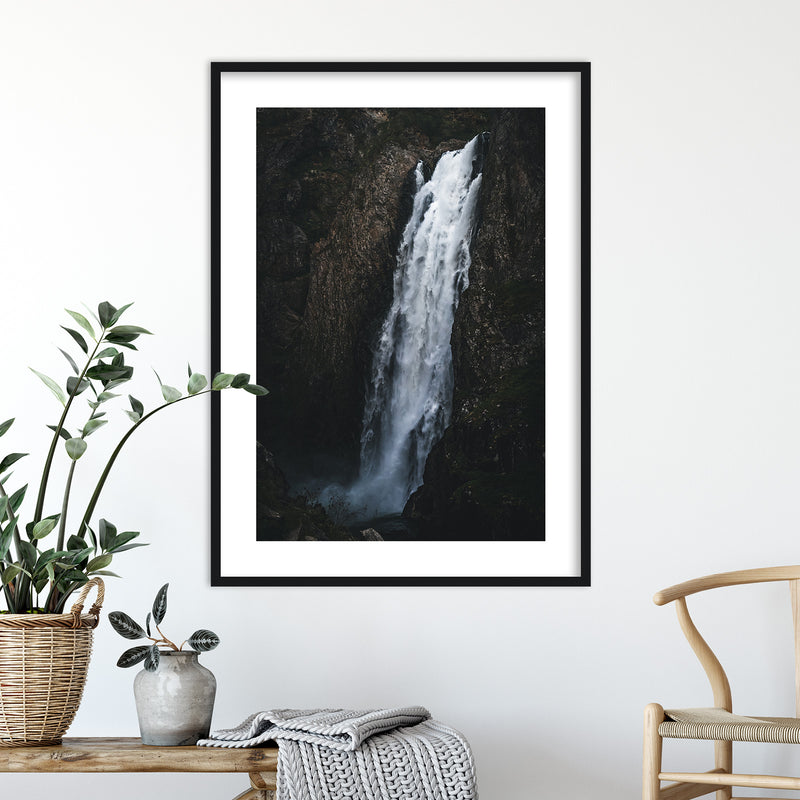 Dark and Moody Waterfall in Norway | Wall Art Print by Jan Erik Waider