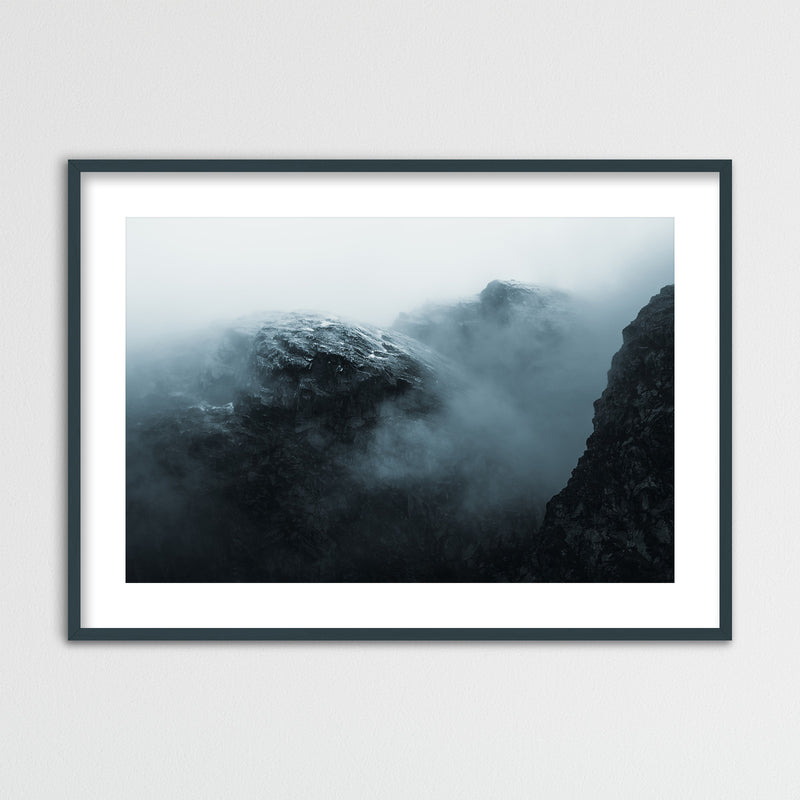 Dramatic Mountain in the Clouds, Norway | Framed Photo Print by Jan Erik Waider