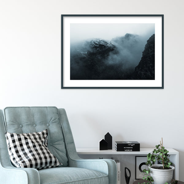 Dramatic Mountain in the Clouds, Norway | Wall Art Print by Jan Erik Waider