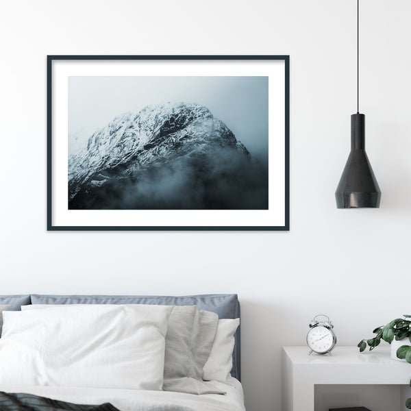 Snowy Mountain in the Clouds | Wall Art Print by Jan Erik Waider