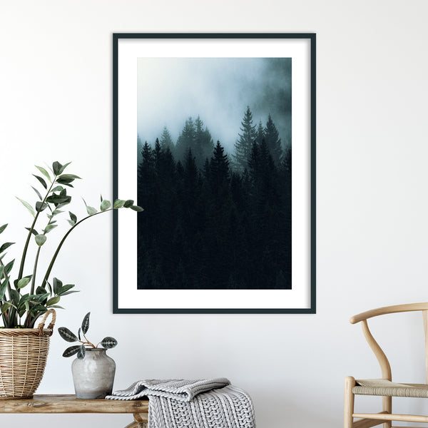 Dark and Foggy Forest of Norway | Wall Art Print by Jan Erik Waider