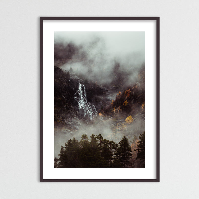 Moody Forest and Waterfall in Norway | Framed Photo Print by Jan Erik Waider