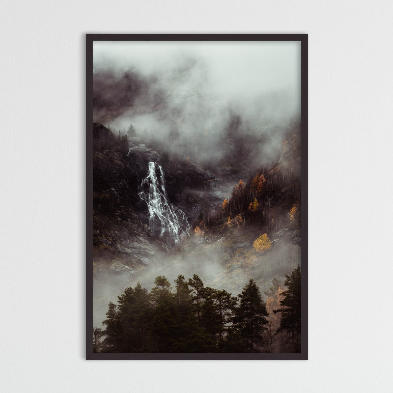 Moody Forest and Waterfall in Norway | Photography Print by Northlandscapes
