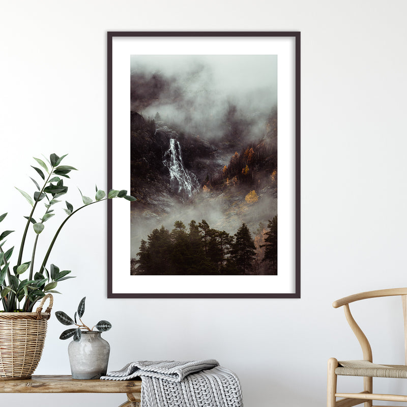 Moody Forest and Waterfall in Norway | Wall Art Print by Jan Erik Waider