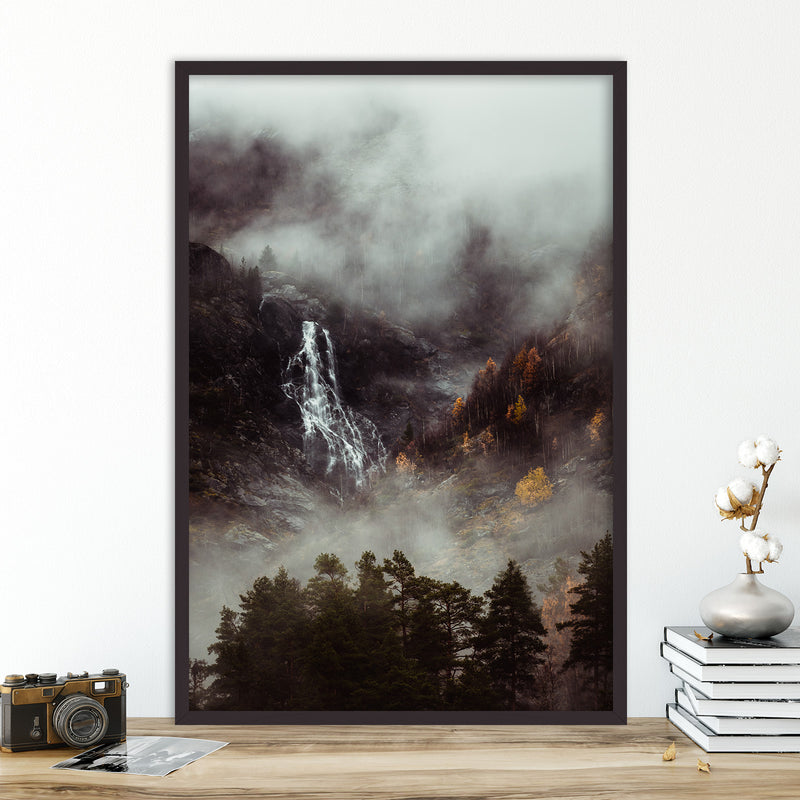 Moody Forest and Waterfall in Norway | Fine Art Photography Print by Northlandscapes