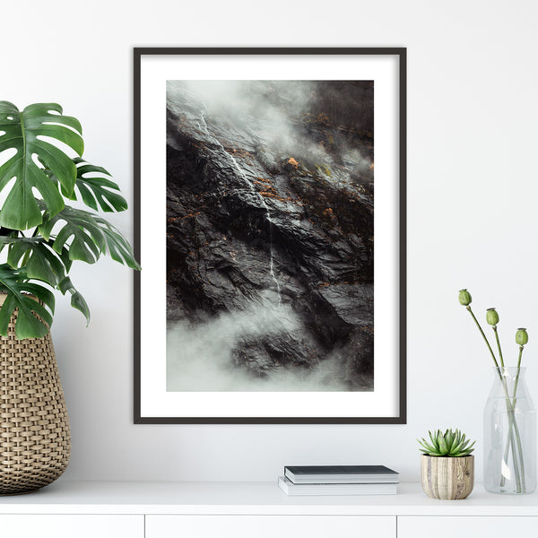 Waterfall between Clouds in Autumn Weather | Wall Art Print by Jan Erik Waider