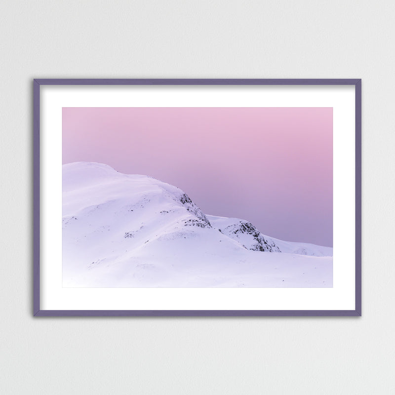 Violet Sky over Snowy Mountain in Scotland | Framed Photo Print by Jan Erik Waider
