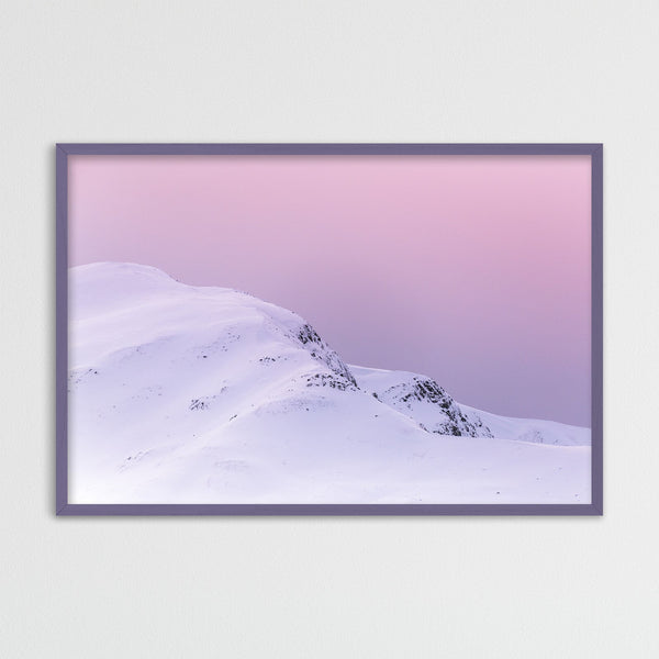 Violet Sky over Snowy Mountain in Scotland | Photography Print by Northlandscapes