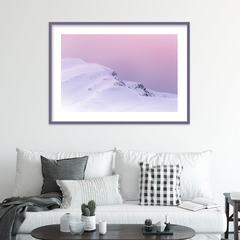 Violet Sky over Snowy Mountain in Scotland | Wall Art Print by Jan Erik Waider