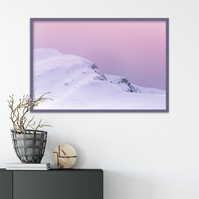 Violet Sky over Snowy Mountain in Scotland | Fine Art Photography Print by Northlandscapes