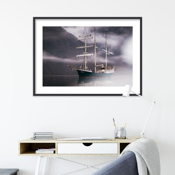 Sailing Ship between Clouds | Wall Art Print by Jan Erik Waider