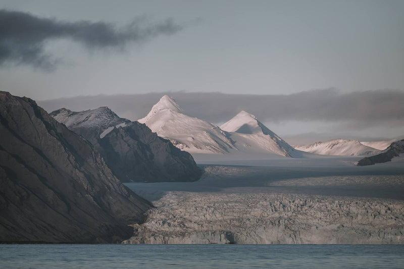 Snowy Mountain Peaks of Svalbard