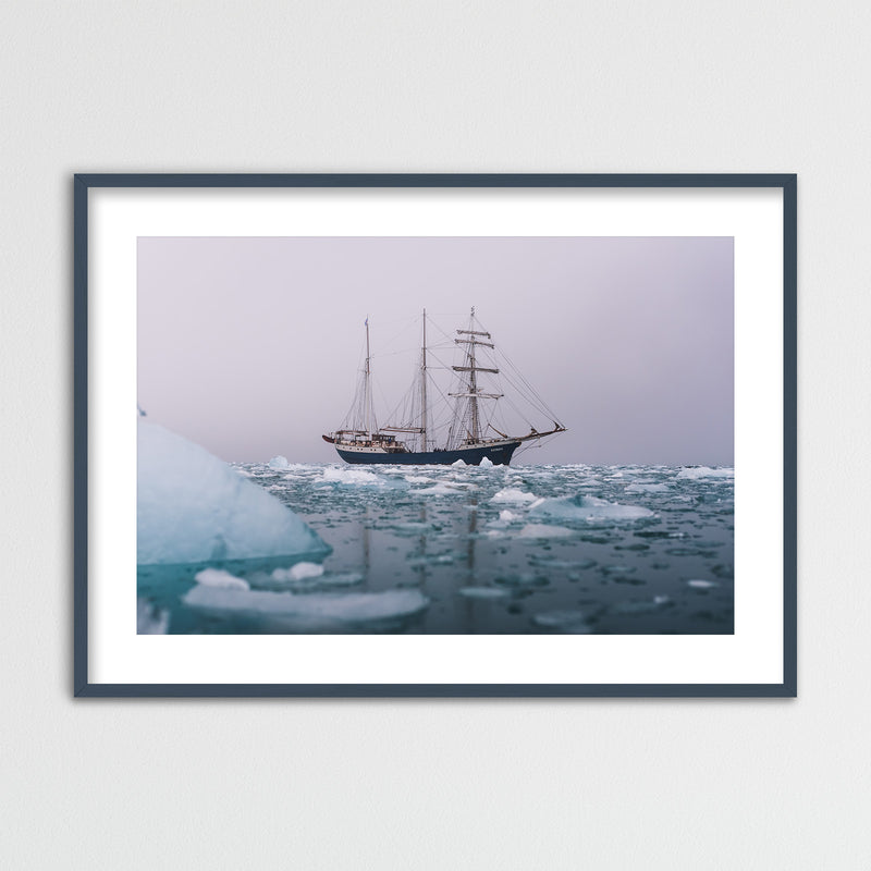 Classic Sailing Ship in the Arctic Waters of Svalbard | Framed Photo Print by Jan Erik Waider