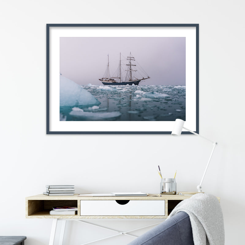 Classic Sailing Ship in the Arctic Waters of Svalbard | Wall Art Print by Jan Erik Waider