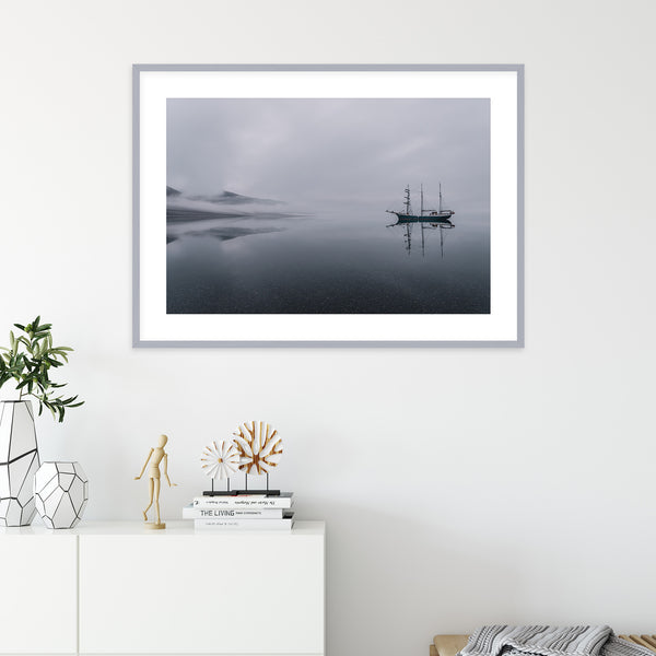 Sailing Ship in Silent Waters of Svalbard | Wall Art Print by Jan Erik Waider