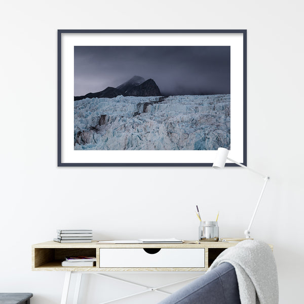Dark Clouds over a Glacier in Svalbard | Wall Art Print by Jan Erik Waider