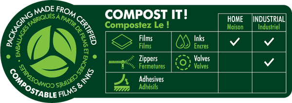Compostable Quad Seal 8.27 x 16.14 x 4.33 / 210 x 410 x 110 mm (QS2)