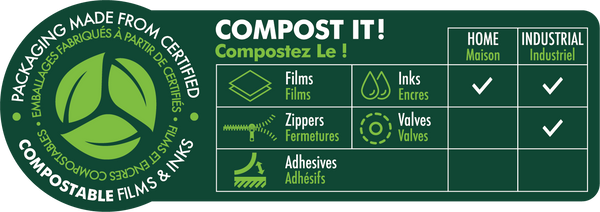 Compostable Paper Quad Seal 3.74 x 10.63 x 2.76 in / 95 x 270 x 70 mm (QS250)
