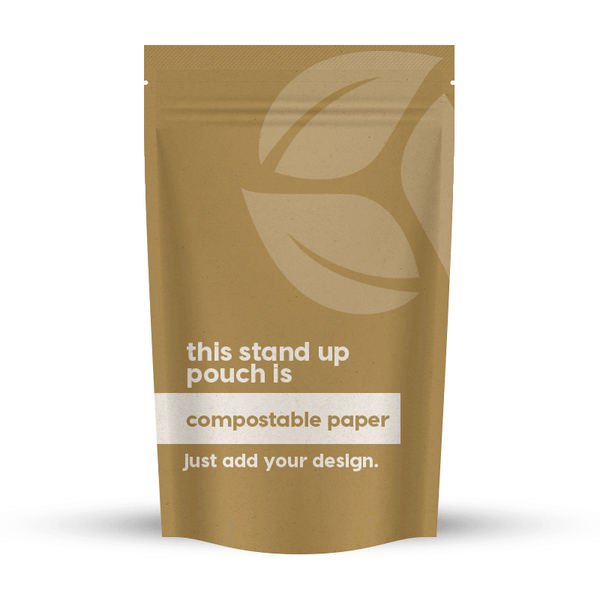 Compostable Paper Stand-Up Pouch 6.15 x 9.41 x 3.5 in / 156 x 239 x 90 mm (SUP250)