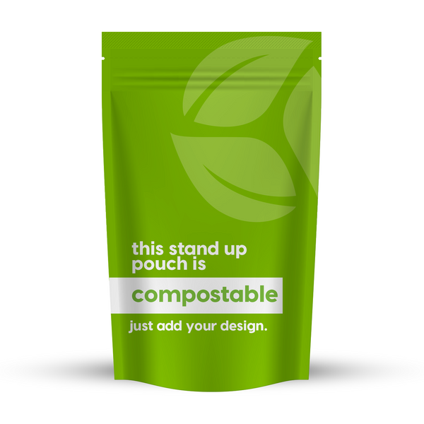 "Compostable Stand-up Pouch 5.39"" x 7.01"" (100g)"