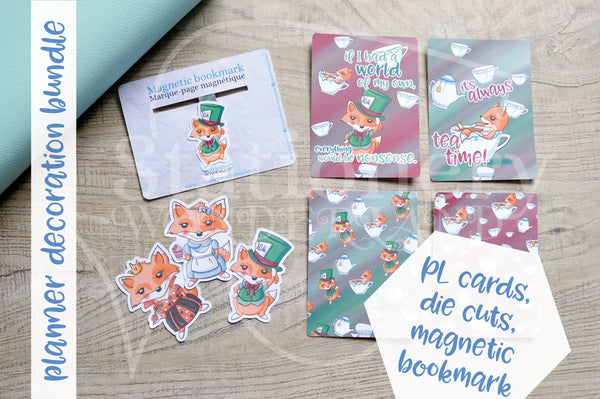 Planner decoration bundle - Foxy in Wonderland, Mad Hatter