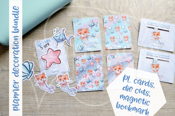 Planner decoration bundle - Foxy's under the sea - PL cards, die cuts and magnetic bookmark